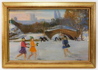 R. Howell Impressionist NYC Pond Skating Painting