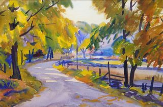 Agnes Abbot Impressionist Landscape WC Painting