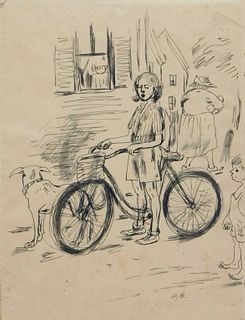 Peggy Bacon Girl with Bike Illustration Drawing