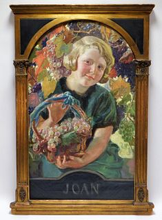 Ernest Klempner Girl with Grapes Portrait Painting