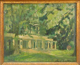 1917 American Impressionist Springtime Painting