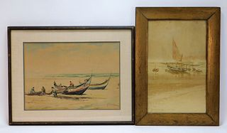 2PC European Nautical Maritime Boat WC Paintings