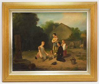 1845 American Folk Art Farm Genre Painting