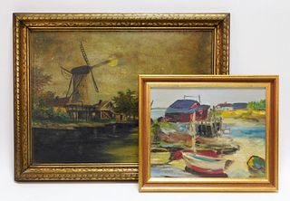 2 Amer. Impressionist Paintings & Carved Frame