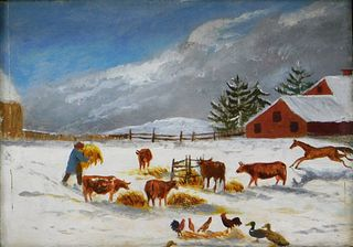 19C American Folk Art Winter Farm Scene Painting