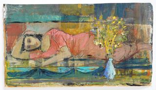Gordon Steele Modernist Lounging Woman Painting