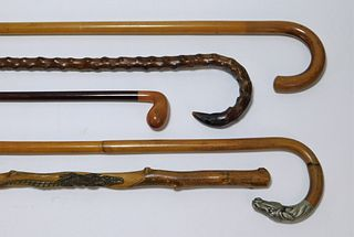 5PC Assorted Carved & Figural Wood Canes