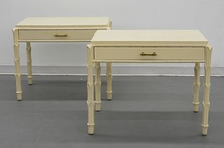 PR Hollywood Regency Faux Bamboo White Side Tables