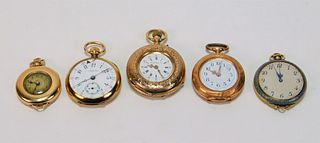 5PC Tiffany & Assorted Lady's Gold Pocket Watches