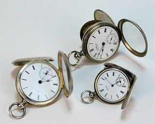 3PC American Sterling Silver Pocket Watches
