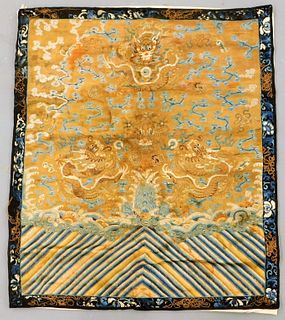 Chinese Silk Forbidden Stitch Imperial Robe Panel