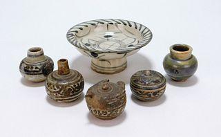 6PC Sawankhalok Ceramic Pottery Group