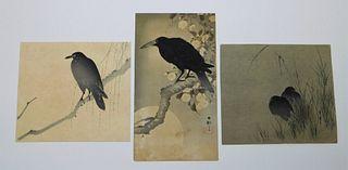 3PC Assorted Japanese Black Bird Woodblock Prints