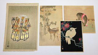 4PC Koson Ohara & Terada Akitoyo Woodblock Prints