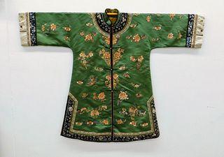 Chinese Qing Dynasty Forbidden Stitch Silk Robe