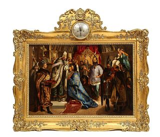 Unknown (Polish, 19th Century) Exceptional Quality Oil on Tin Painting Coronation 19th Century