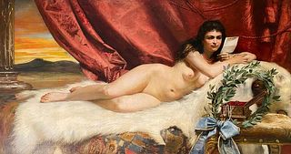 Adolf Pirsch (1858 - 1929 Austrian) Monumental Oil on Canvas of A Reclining Nude 1895