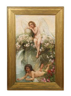 "A Beautiful Oil on Canvas ""Two Cherubs in the Garden"" in Original Frame"