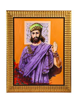 "Nasser Ovissi 'Iranian, Born 1934' ""King Cyrus The Great"" Oil on Canvas Painting"