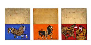 "Nasser Ovissi, 'Iranian, Born 1934' ""Arabian Horses Triptych"" Oil on Canvas"