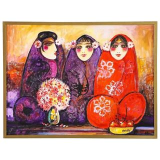 "Nasser Ovissi, 'Iranian, Born 1934' ""Three Seated Girls"" Oil on Canvas Painting"