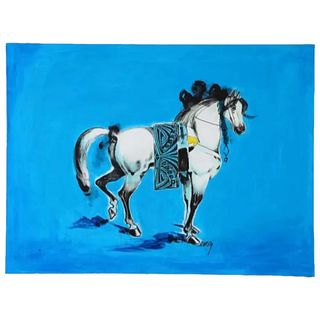 "Nasser Ovissi, 'Iranian, Born 1934' ""Arabian Horse"" Oil on Canvas Painting"