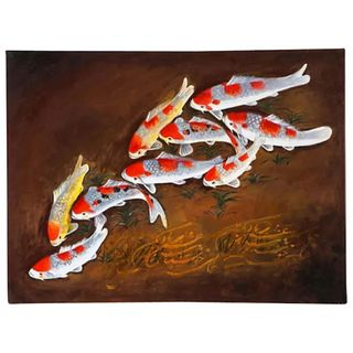 "Nasser Ovissi, 'Iranian, Born 1934' ""Koi Fish"" Oil on Canvas Painting"
