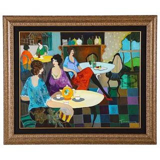 "Itzchak Tarkay (Israel, 1935-2012) ""Afternoon Tea"" Oil on Canvas Painting"