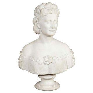 Thomas Ridgeway Gould, a Rare American White Marble Bust of a Woman 1870