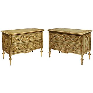 Exceptional Pair of French Provincial Green Painted and Parcel-Gilt Commodes