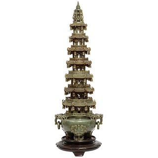 Monumental Chinese Green Translucent Jade Carved Pagoda Censer, 19th Century