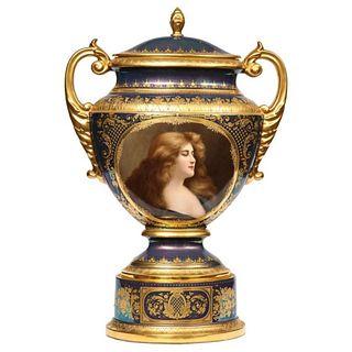 Monumental Royal Vienna Iridescent Porcelain Portrait Vase and Cover, circa 1880