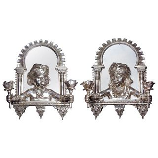 Pair of French Orientalist Alhambra Bronze Two-Light Wall Appliques Sconces