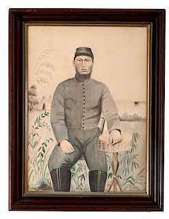 Folk Art Watercolor Portrait of a Confederate Soldier
