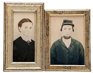 Watercolor Portraits of Civil War Soldier and Wife