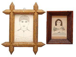 Folk Art Drawings in Tramp Art Frames