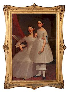 Fine Antebellum Portrait of Two Sisters, Signed Moses Billings