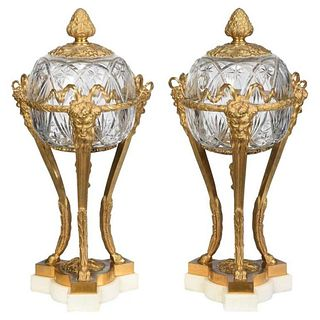 Pair of French Louis XVI Style Bronze and Cut Crystal Garniture Vases Covers