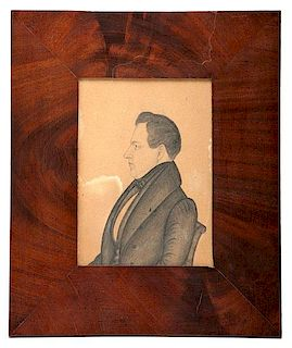 Pen and Ink Miniature Portrait by J.M. Crawley