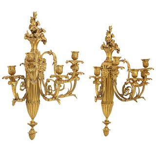 Very Fine Pair of Louis XVI Style French Ormolu Bronze Wall Appliques, Sconces