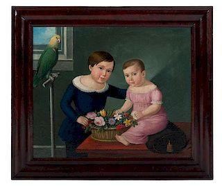Folk Art Portrait of Children with Parrot