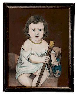 Folk Art Portrait of a Child Holding a Doll