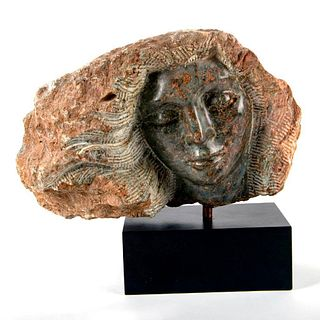 Michael Barkin Stone Sculpture, Face of Woman On Black Base