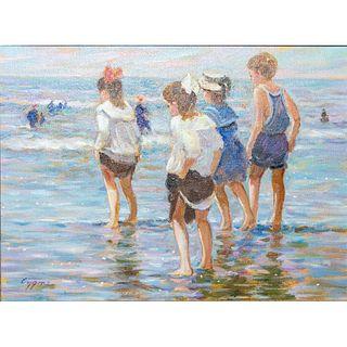 E. J. Cygne Oil On Canvas, Framed, Children By The Beach