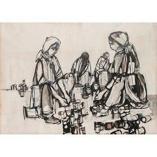 Ruth Schloss (b. 1922-2013), Seated Women, Framed