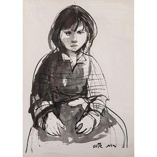 Ruth Schloss Gouache Painting, Seated Child, Framed
