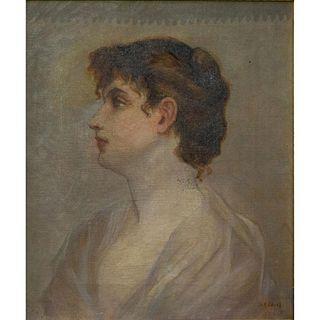 Vintage M. Davis Paint On Canvas, Framed
