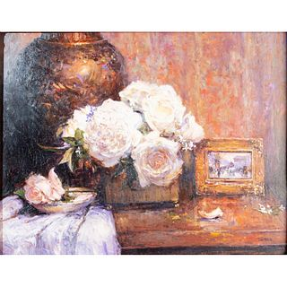 Jennie Tomao Oil Painting, Flowers, Framed