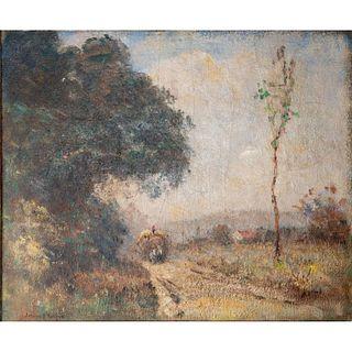 Joseph H. Boston, Amer. Titled 'Haywagon' Painted Landscape