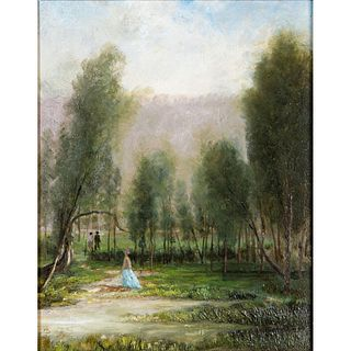 Vintage Landscape Painting, Jamaica Pond Trail, Framed